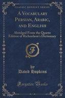 A Vocabulary Persian, Arabic, and English