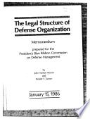 Memorandum Prepared for the President s Blue Ribbon Commission on Defense Management