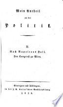 Nach Napoleons Fall. Der Congreß zu Wien