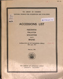 Accessions List, Indonesia