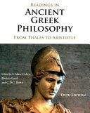 Readings in ancient Greek philosophy : from Thales to Aristotle /