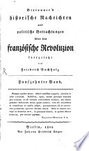 Historische Nachrichten und politische Betrachtungen   ber die franz  sische Revolution