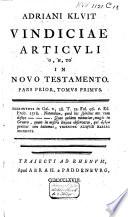 Vindiciae Articvli O To In Novo Testamento