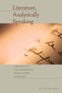 Literature, Analytically Speaking