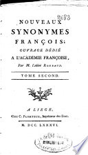Nouveaux synonymes françois ...