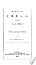 Miscellaneous Poems  With an introduction by T  Ebdon