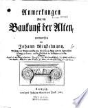 Anmerkungen   ber die Baukunst der Alten  entworfen von Johann Winckelmann