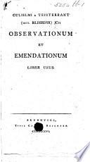 Gulielmi a Teisterbant dict  Bilderdyk JCti Observationum et emendationum liber unus  MS  note  by the author
