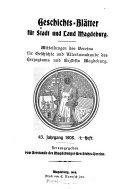 Geschichts Bl  tter f  r Stadt und Land Magdeburg