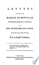Letters from the marquis de Montcalm  governor general of Canada