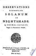 Observations on the Internal Use of the Solanum Or Nightshade