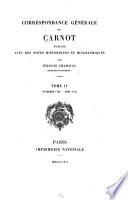 Correspondance g  n  rale de Carnot  Novembre 1793 mars 1795