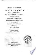 Dissertazione accademica sulle tragedie di Vittorio Alfieri dell avvocato Giovanni Carmignani professore nella Universita di Pisa coronata dall Accademia Napoleone di Lucca il 18 maggio 1806
