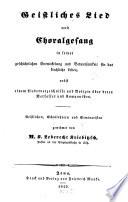Geistliches Lied und Choralgesang in seiner geschichtlichen Entwickelung und Bedeutsamkeit für das kirchliche Leben