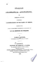Italian Grammatical Annotations  Or  Observations on Several Constructions of the Parts of Speech