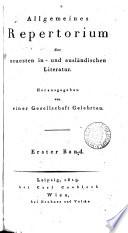 Allgemeines Repertorium der neuesten in- und ausländischen Literatur