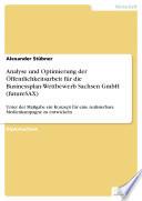 Analyse und Optimierung der Öffentlichkeitsarbeit für die Businessplan-Wettbewerb Sachsen GmbH (futureSAX)