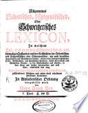 Allgemeines Eydgenössisches oder Schweitzerisches Lexicon [...]
