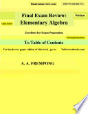 Final Exam Review  Elementary Algebra