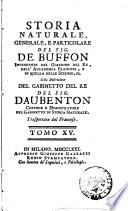 Storia naturale  generale  e particolare del sig  de Buffon     Colla descrizione del gabinetto del re del sig  Daubenton     Trasportata dal francese  Tomo 1    31