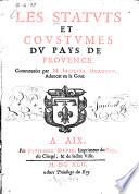 Les Statuts et Coustumes du Pays de Provence