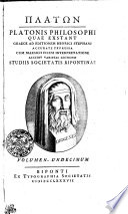 Platon. Platonis philosophi quae exstant