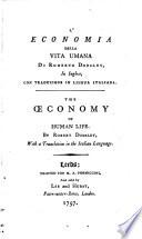 L'economia della vita umana di Roberto Dodsley, in Inglese, con traduzione in lingua Italiana