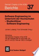 Software Engineering im Unterricht der Hochschulen SEUH '92 und Studienführer Software Engineering