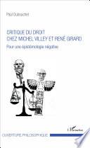 Critique Du Droit Chez Michel Villey Et Ren Girard