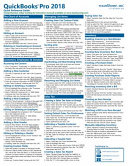 QuickBooks Pro 2018 Quick Reference Training Guide Laminated Cheat Sheet