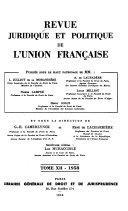 Revue juridique et politique de l'union française
