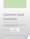 Common Excel Functions