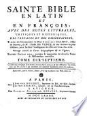 La Sainte Bible en latin et en fran  ais avec des notes de cabinet et de Vence