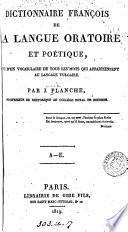 Dictionnaire Fran Ois De La Langue Oratoire Et Po Tique