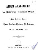 Album Academicum der Kaiserlichen Universität Dorpat