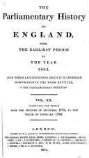 Book The Parliamentary History of England from the Earliest Period to the Year 1803