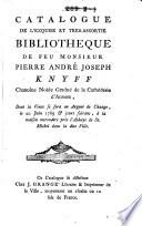 Veilingcatalogus, boeken Pierre André Joseph Knijff, 20 juni e.v. 1785