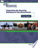 Improving The Sourcing Decisions Of The Government Final Report