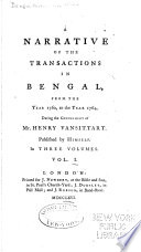 A Narrative Of The Transactions In Bengal From The Year 1760 To The Year 1764