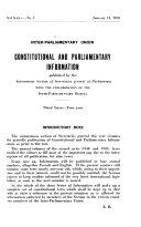 Constitutional and Parliamentary Information