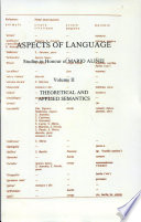 Aspects of Language  Theoretical and applied semantics