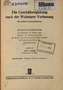 Die Gesch  ftsregierung nach der Weimarer Verfassung