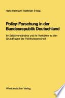 Policy-Forschung in der Bundesrepublik Deutschland