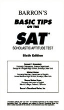 Barron s basic tips on the SAT  scholastic aptitude test