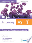 Aqa As Accounting Student Unit Guide New Edition Unit 2 Financial And Management Accounting