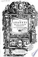 Li Statuti de la Corte de mercadanti de la magnifica citta di Lucca