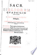 Biblia sacra Graece  latine   Germanice  Duodecim libri historici
