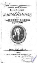 Karl Heinrich Heydenreich's Betrachtungen über die Philosophie der natürlichen Religion