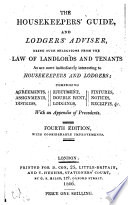 The Housekeepers  Guide  and Lodgers  Adviser