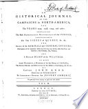 An Historical Journal Of The Campaigns in North America  for the Years 1757  1758  1759  and 1860
